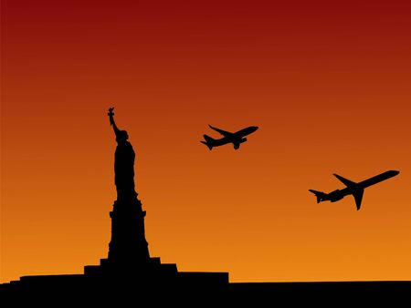 departing: Statue of Liberty at sunset with planes departing illustration Stock Photo