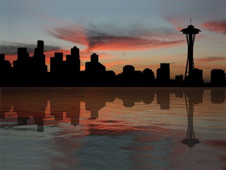 Seattle skyline reflected at sunset illustration Stock Photo