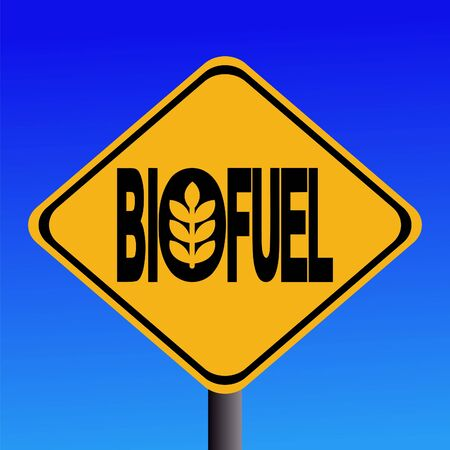 yellow beware: Warning Biofuel sign with cereal symbol illustration Stock Photo