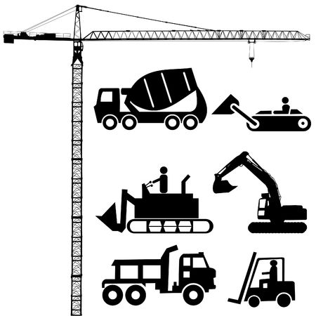 Construction machinery silhouettes including crane excavator and cement mixer Stock Photo - 3275977
