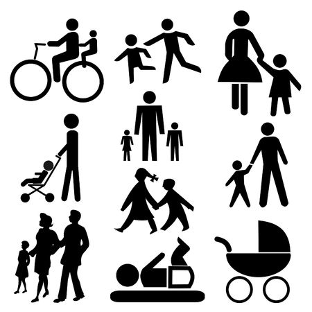 assorted  silhouettes including bicycle  and pram photo