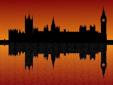 parliament: Houses of parliament London reflected at dusk illustration