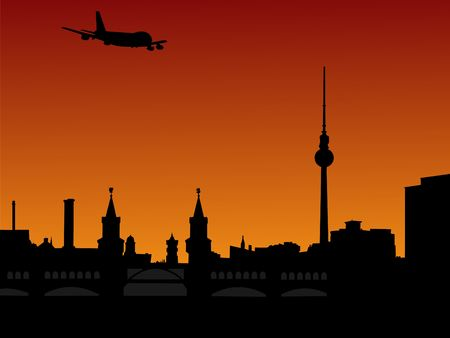 arriving: plane flying over Berlin skyline with tv tower at sunset illustration