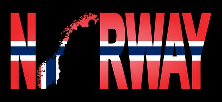Norway text with map on flag illustration
