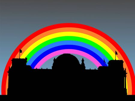 parliament: Reichstag German Parliament building with colourful rainbow illustration Stock Photo