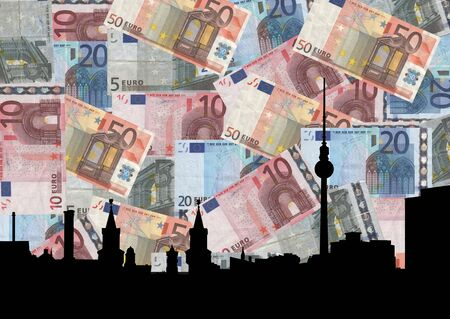 tv tower: Berlin skyline with TV tower against euros collage illustration Stock Photo
