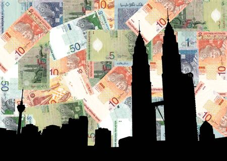 Kuala Lumpur skyline with Twin Towers against Malaysian currency