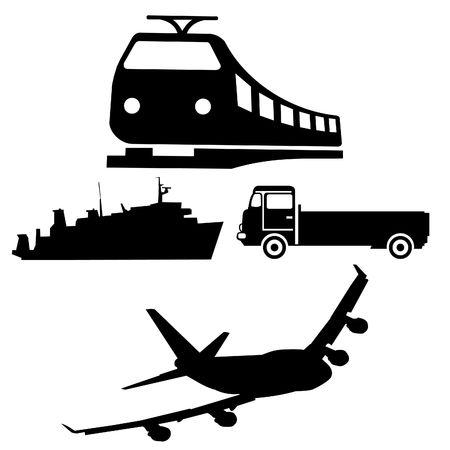 silhouetten van de verschillende voertuigen boot vrachtwagen trein en vliegtuig