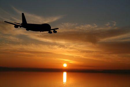 Plane flying towards sunset in ocean illustration illustration