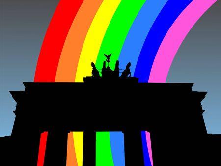 refracted: Brandenburg Gate Berlin with colourful rainbow illustration