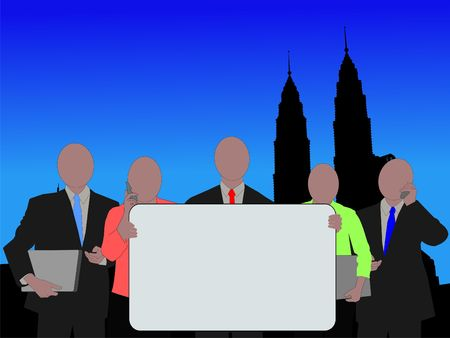 asian man laptop: Business team with sign and Twin Towers illustration