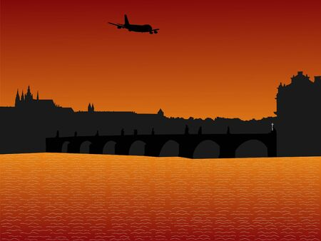arriving: plane arriving in Prague at sunset illustration Stock Photo