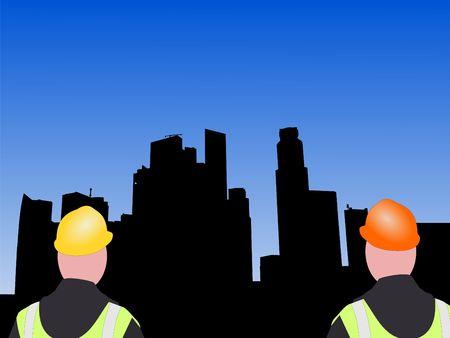 singapore skyline: construction workers with Singapore Skyline illustration Stock Photo