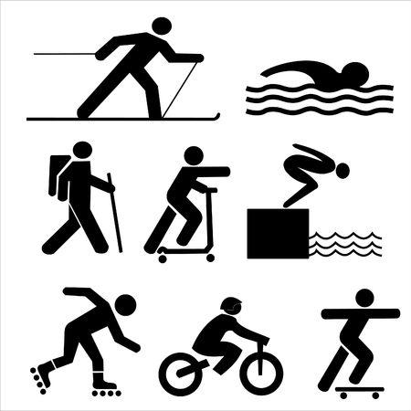 figures exercising hiking skiing skating cycling swimming and diving