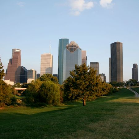 skyscrapers of Houston skyline Texas from park Stock Photo
