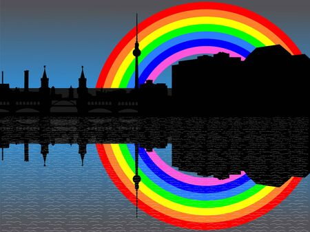 refracted: Berlin skyline with colourful rainbow illustration