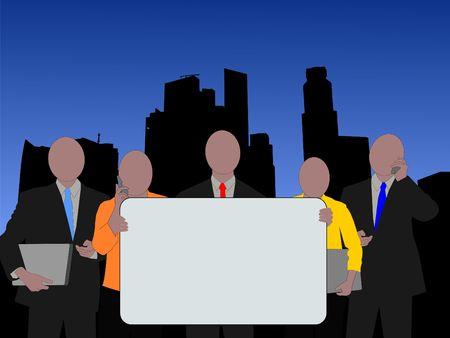singapore skyline: Business team with sign and Singapore Skyline illustration