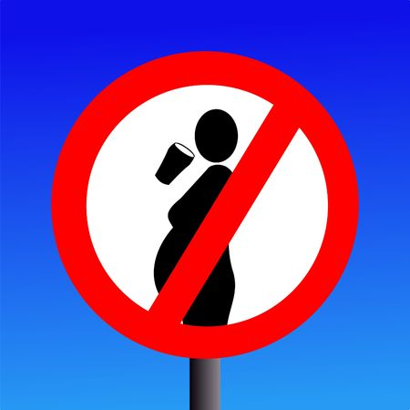 instruct: no alcohol during pregnancy sign on blue illustration