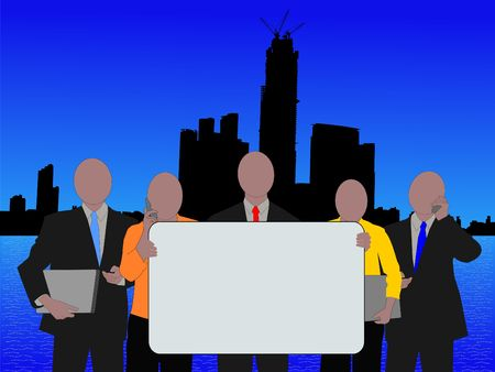 Hong Kong Business Team With Sign and skyline illustration illustration
