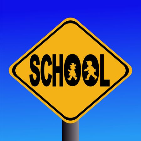 symbol vigilance: Warning school sign with children silhouettes