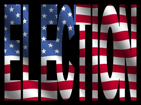 rippled: Election text with rippled American flag on black illustration Stock Photo