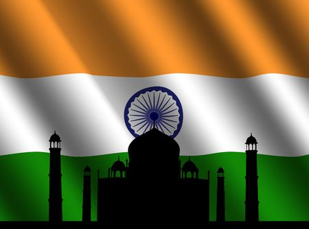 mausoleum: Taj Mahal and rippled Indian flag illustration