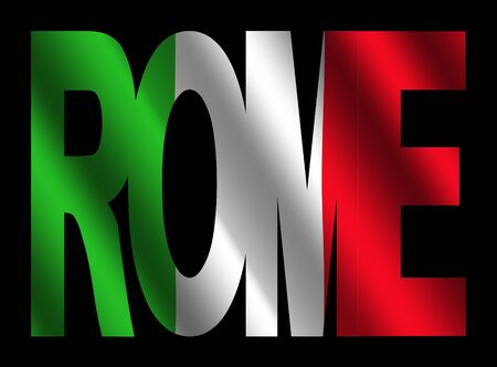 rippled: overlapping Rome text with rippled Italian flag illustration Stock Photo