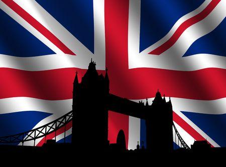 london tower bridge: Tower Bridge London with rippled British Flag illustration Stock Photo