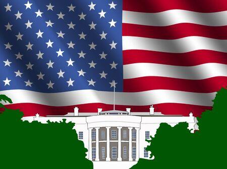 White  Washington DC with rippled American Flag illustration Stock Illustration - 3357763