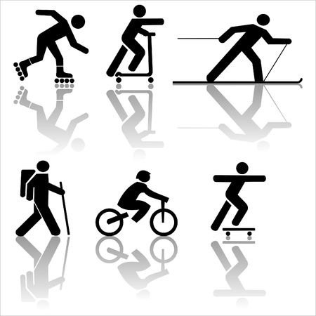 Rysunek wykonywania turystyka rowerowa jazda na nartach jazda na łyżwach Zdjęcie Seryjne - 3363131