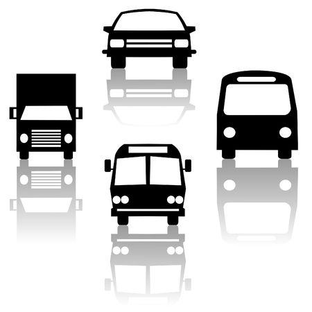 bus vrachtwagen auto en metro trein silhouetten