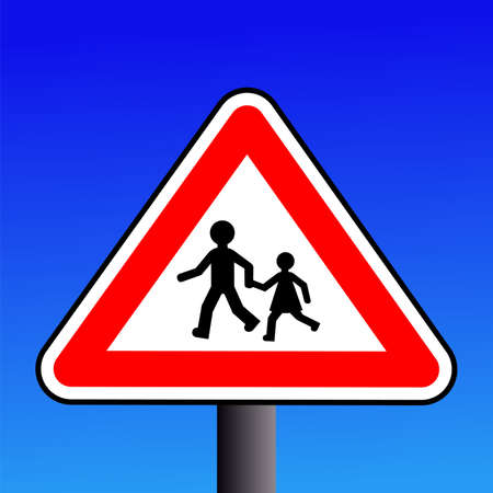 symbol vigilance: Warning children on road sign illustration