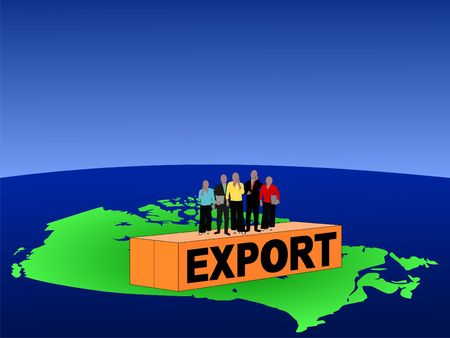Canadian business team on export container illustration illustration