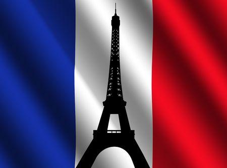 Eiffel tower Paris against rippled French flag illustration illustration