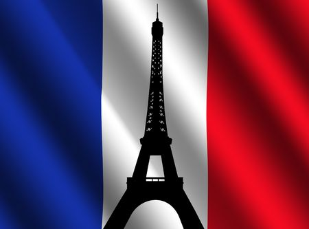french culture: Eiffel tower Paris against rippled French flag illustration Stock Photo