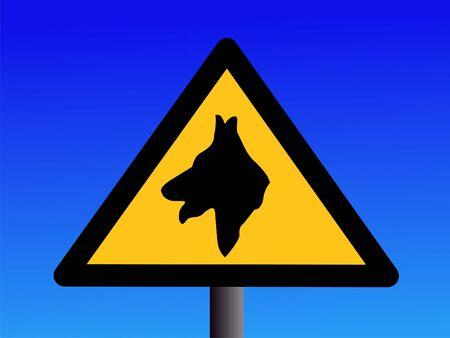 warning guard dog sign on blue illustration illustration