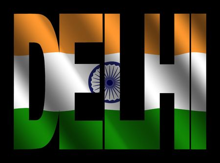 rippled: overlapping Delhi text with rippled Indian flag illustration