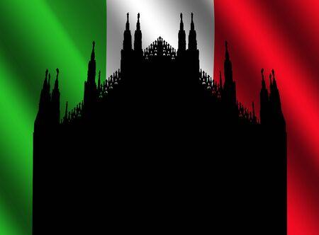Duomo Milan and rippled Italian flag illustration illustration