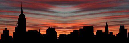 chrysler: Midtown Manhattan skyline at sunset with beautiful sky illustration