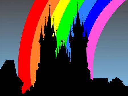 refracted: Tyn Church Prague with colourful rainbow illustration