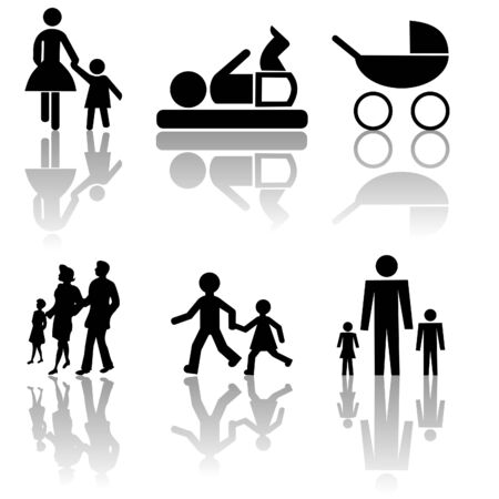 assorted family silhouettes with shadow Stock Photo - 3367986
