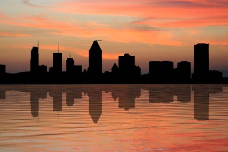 Montreal skyline at sunset reflected in water illustration illustration