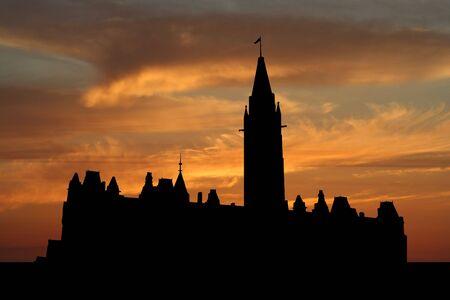 Canadian parliament Ottawa at sunset illustration illustration