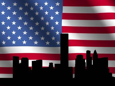houston flag: Houston skyline against rippled American Flag illustration Stock Photo
