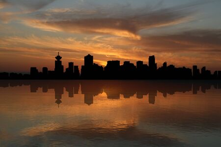 reflected: Vancouver skyline at sunset reflected in water illustration