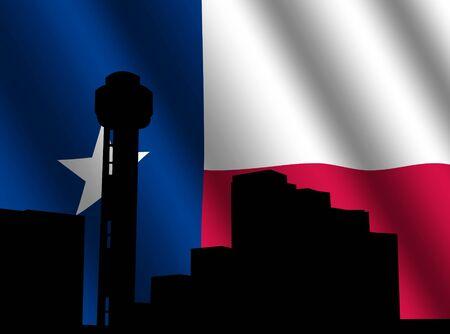 Reunion Tower Dallas with rippled Texan flag illustration illustration