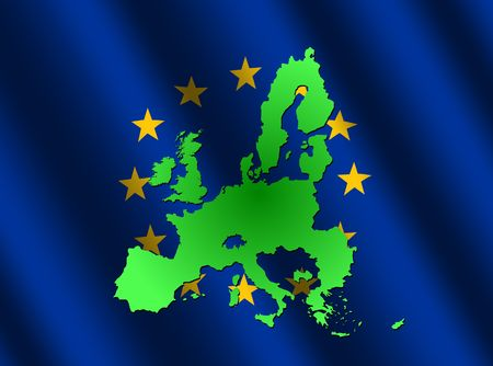 map of European union on rippled EU flag illustration Stock Illustration - 3378537