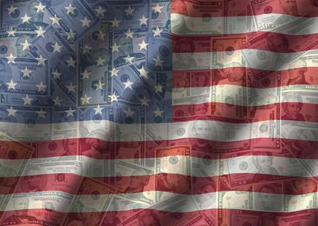 American currency with rippled flag effect background illustration