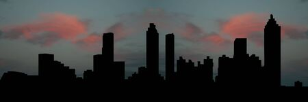 panoramic sky: Atlanta skyline at sunset with beautiful sky illustration