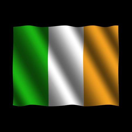 Irish flag with ripples on black illustration Stock Illustration - 3378541